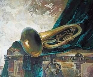 Acrylic painting Musical trumpet Тucxin Yuri