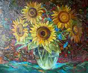 Oil painting Sunflowers Тucxin Yuri Alekseevich