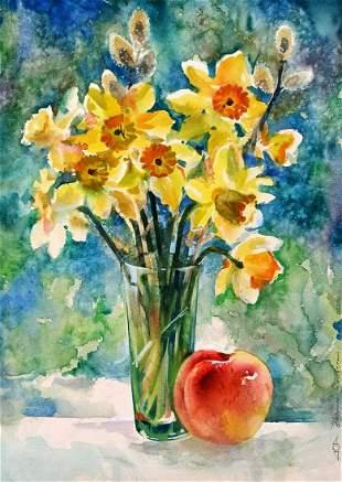 Watercolor painting Daffodils Тucxin Yuri