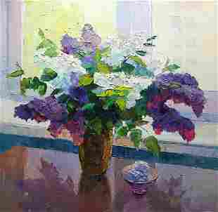 Oil painting Lilac on the window background Serdyuk