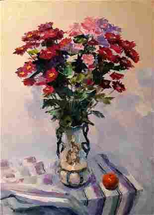 Oil painting Chrysanthemum bouquet Serdyuk Boris