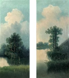 Two oil painting Natural landscape
