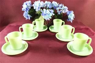 6 Fire King Jadeite Mugs, D Handle Cups Restaurant Ware