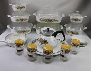 "Corning Ware ""Spice-O'-Life"" Pattern Pan and Dish Set"