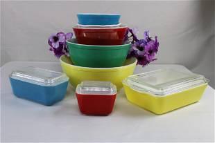"Pyrex ""Multi-Color"" Bowl and Dish Set"