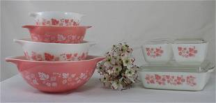 """Pyrex Pink """"Gooseberry"""" Pattern with Cinderella Style"""
