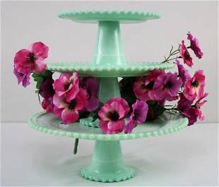 "Jadeite Slag Glass Tiered ""Candlewick"" Pattern Cake"