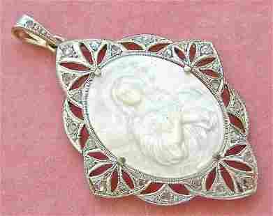 ART DECO .35 DIAMOND VIRGIN MARY IMMACULATE CONCEPTION