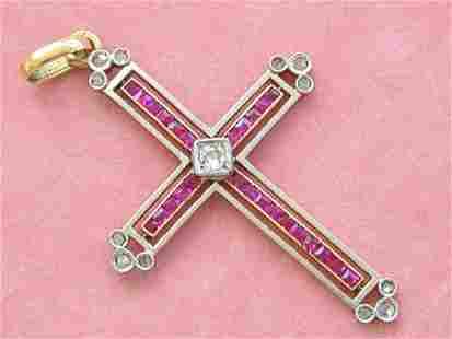 ART DECO .17ctw DIAMOND .5ctw RUBY HOLY TRINITY 2 TONE