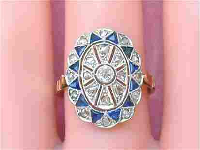 ART DECO .28ctw DIAMOND .40ctw BLUE SAPPHIRE PLATINUM