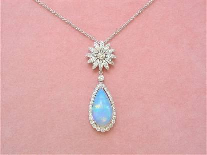 ART DECO .84ctw DIAMOND FLOWER 5ctw OPAL PEAR DROP