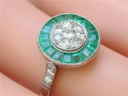 ART DECO .48ctw DIAMOND .65ctw EMERALD HALO PLATINUM