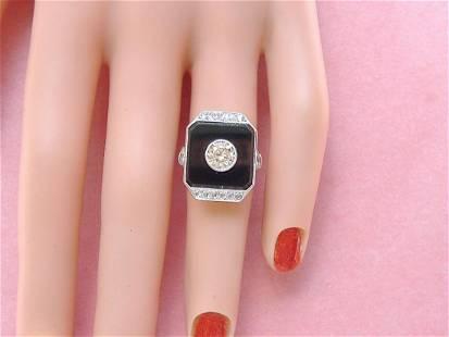 ART DECO 1.32 ctw DIAMOND ONYX PLATINUM COCKTAIL RING