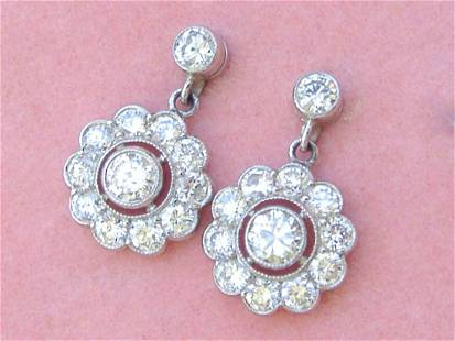 ART DECO 1.73ctw BRILLIANT DIAMOND CLUSTER PLATINUM
