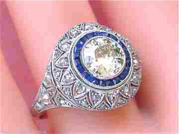 ART DECO 1.25ct MINE DIAMOND .50ctw SAPPHIRE HALO