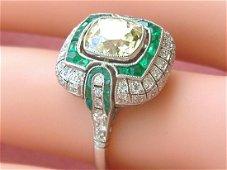 ART DECO 1.87ct OLD CUSHION YELLOW DIAMOND EMERALD HALO