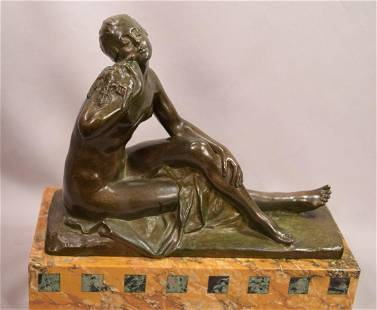 Beautiful Bronze Seated Nude With Dove Signed S.