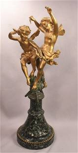 Beautiful Antique Gilt Bronze 2 Cherubs With Bow and