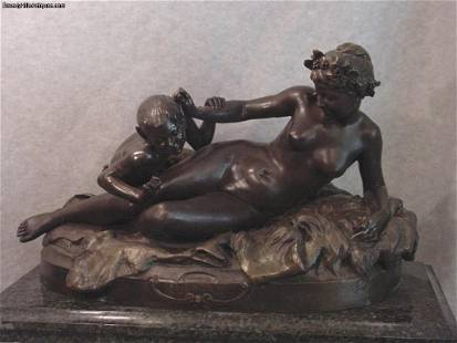 Mythological Nude Nymph with Young Satyr Antique Bronze