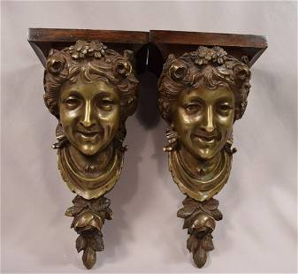 Superb Pair of Antique Smiling Woman Bronze Busts Wall