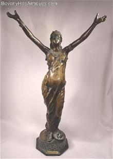 Salambo Orientalist Female Bronze Sculpture Signed J.