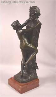 Rare Antique Model Of A Female Nude Embracing A Term