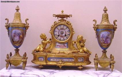 Beautiful Antique French Gilt Bronze and Metal 3 Piece