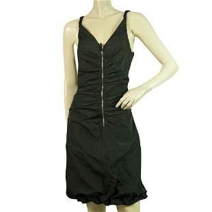 Dolce & Gabbana Black Zipper Front Draped Sleeveless