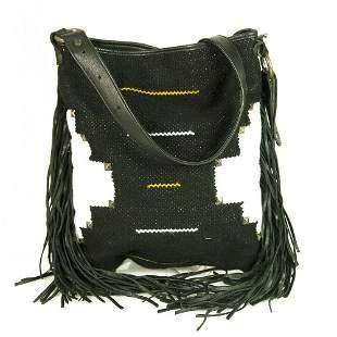 Tagari Black White Weave Boho Hippie Crossbody Shoulder