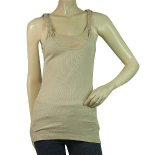 Robert Rodriguez Beige Ribbed Braided Straps Long Tank