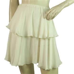 Dondup Ivory 100%Silk Chiffon Layered Mini Skirt Size