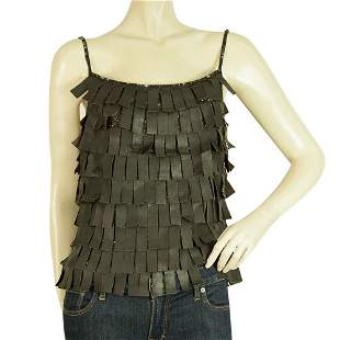 Rene Lezard Brown Leather Fringes & Beads Cami