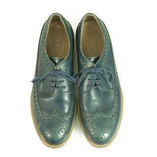Tod's Blue Vintage Effect Leather Lace Up Oxford Men
