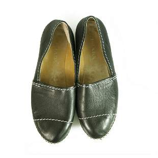 Prada Black Leather Contrast Stitching Jute Espadrilles