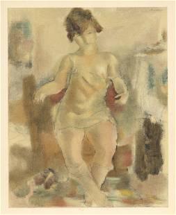 """Jules Pascin lithograph """"Nu a la chemise rose"""""""
