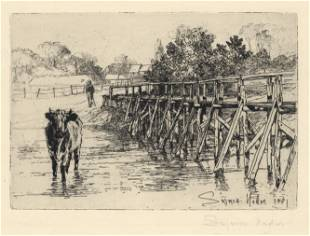 """Seymour Haden pencil-signed etching """"The Village Ford"""""""