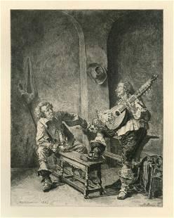 "Jean-Louis Meissonier etching ""Une Chanson"""