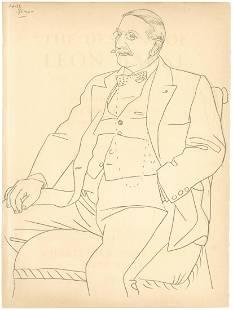 """Pablo Picasso """"Leon Bakst"""" lithograph, 1923"""