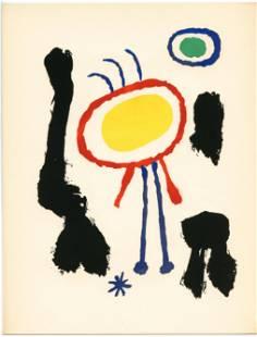 """Joan Miro original pochoir """"Femmes et Oiseaux devant la"""