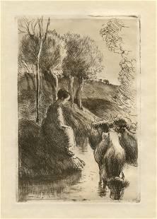 """Camille Pissarro """"Vachere au Bord de l'Eau"""" original"""