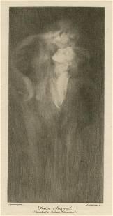 "Eugene Carriere Symbolist drypoint ""Baiser maternel"""