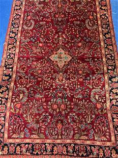 Hand Knotted Persian Sarouk Rug 4x6 ft