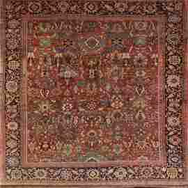 1920 Antique Sultanabad Persian Area Rug 12x12 Square