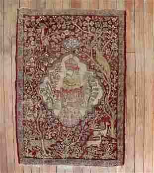 Pictorial Persian Kerman Animal Mat