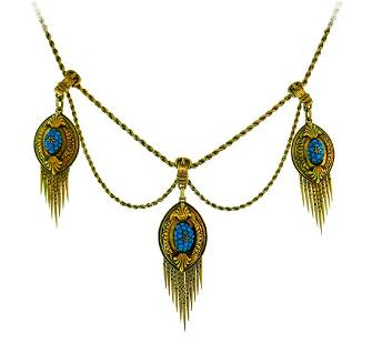 Victorian Turquoise Diamond Yellow Gold NECKLACE 1900s