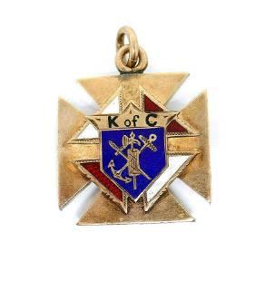 Victorian 10k Rose Gold Enamel Maltese Cross Pendant