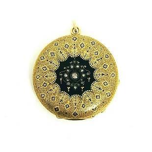 VICTORIAN Rose Cut Diamond Enamel Yellow Gold