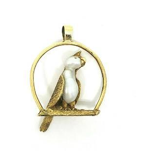 VICTORIAN Yellow Gold Boroque Pearl Bird Pendant