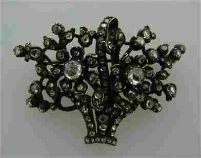 1800s GEORGIAN DIAMOND GOLD SILVER FLOWER BASKET BROOCH