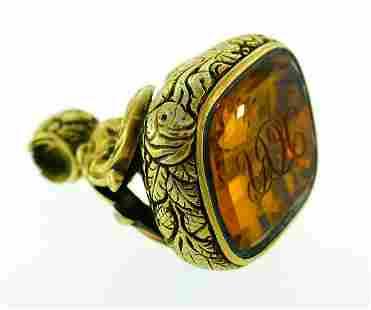 Victorian Citrine Gold Seal Fob Charm PENDANT